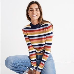 Madewell Mockneck Pullover Sweater in Stripe US M